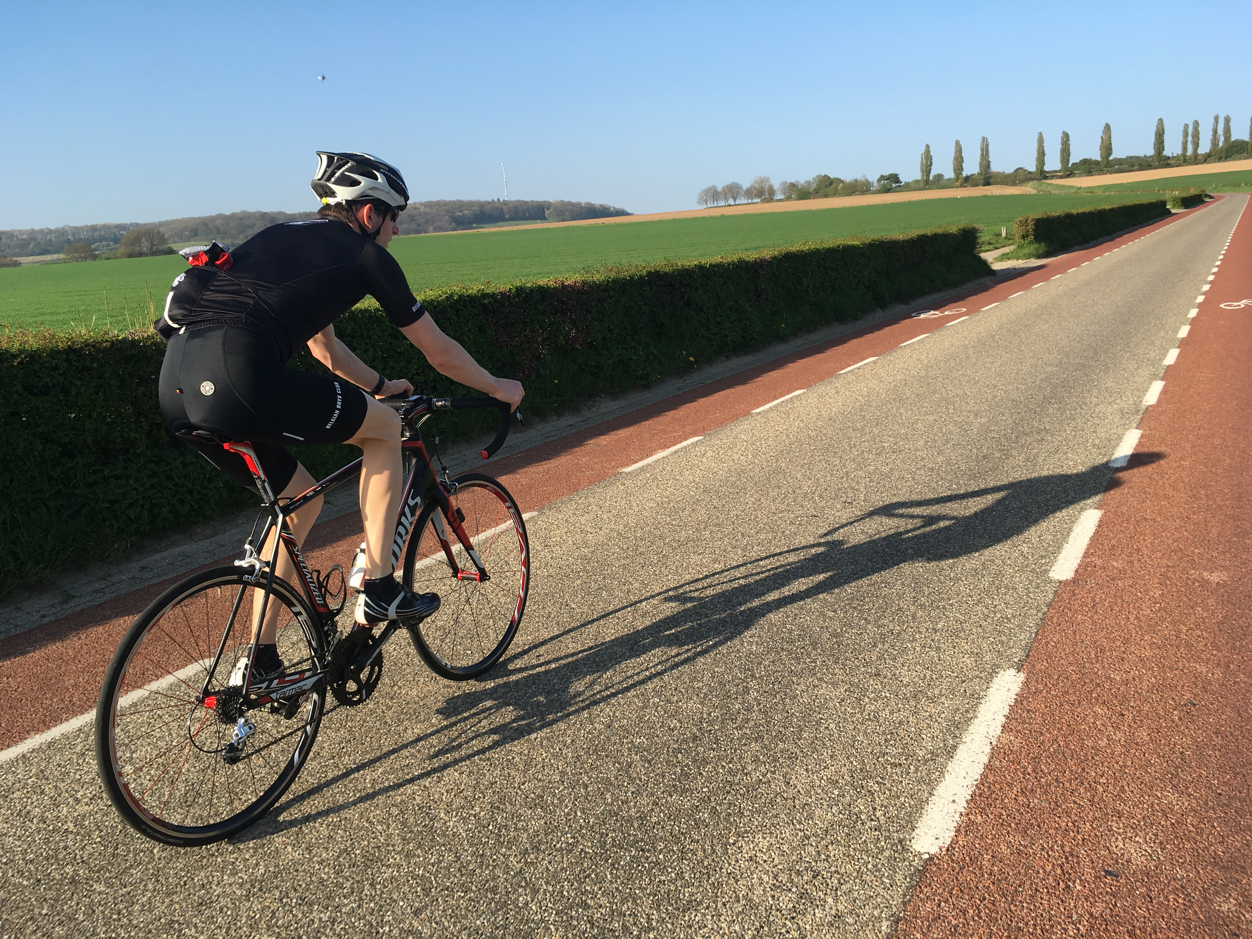 road cycling on route of the spring classics